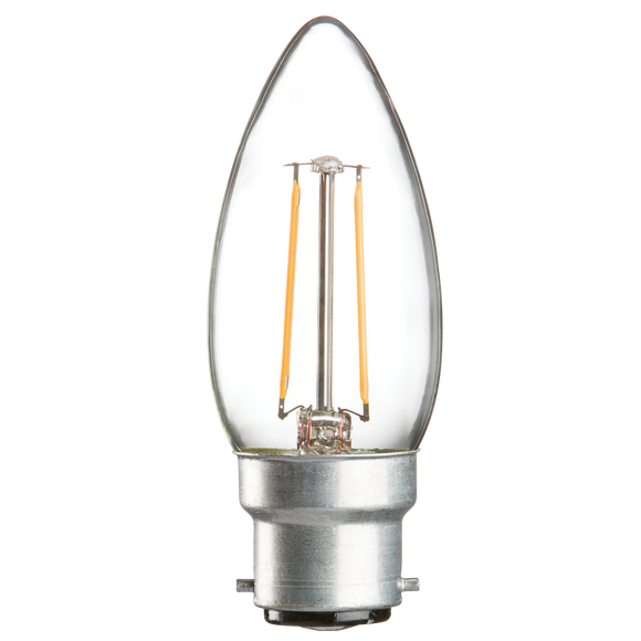 Knightsbridge 230V 2W LED 35mm Candle BC CLEAR