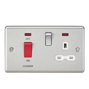 Knightsbridge 45A DP Cooker Switch & 13A Switched Socket with Neons & White Insert - Rounded Edge Brushed Chrome