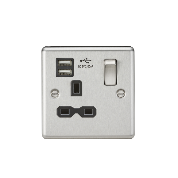 Knightsbridge 13A 1G Switched Socket Dual USB Charger Slots with Black Insert - Rounded Edge Brushed Chrome