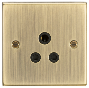Knightsbridge 5A Unswitched Socket - Square Edge Antique Brass Finish with Black Insert