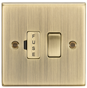 Knightsbridge 13A Switched Fused Spur Unit - Square Edge Antique Brass