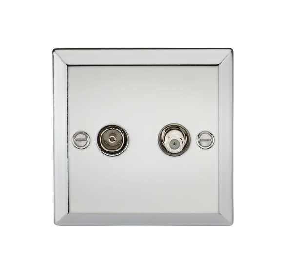 Knightsbridge TV & SAT TV Outlet (isolated) - Bevelled Edge Polished Chrome