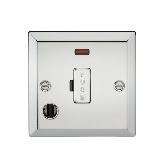 Knightsbridge 13A Fused Spur Unit with Neon & Flex Outlet - Bevelled Edge Polished Chrome