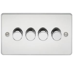 Knightsbridge Flat Plate 4G 2 Way Dimmer 60-400W - Polished Chrome