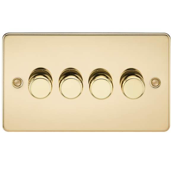 Knightsbridge Flat Plate 4G 2 way 10-200W (5-150W LED) trailing edge dimmer - Polished Brass