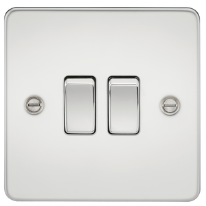 Knightsbridge Flat Plate 10AX 2G 2-way switch - polished chrome