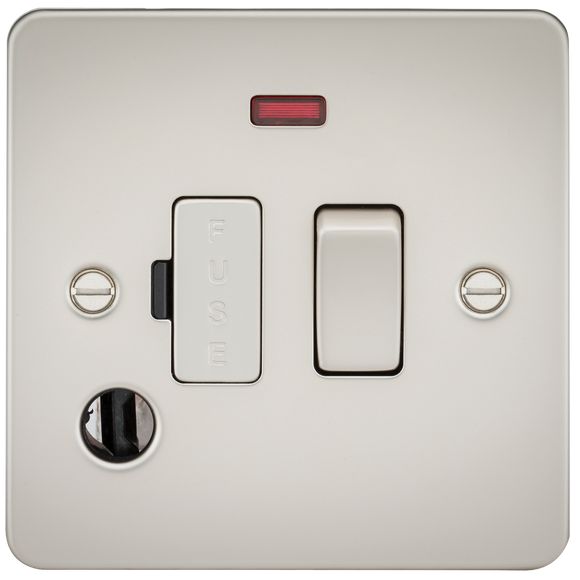 Knightsbridge Flat Plate 13A switched fused spur unit with neon and flex outlet - pearl