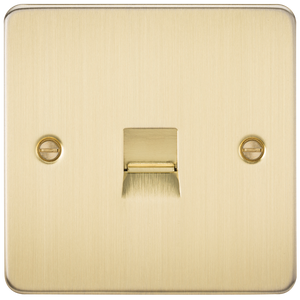 Knightsbridge Flat Plate Telephone extension socket - brushed brass