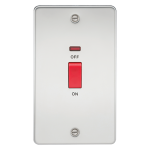 Knightsbridge Flat Plate 45A 2G DP switch with neon - polished chrome