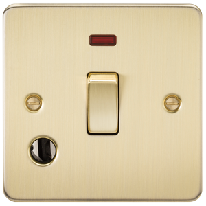 Knightsbridge Flat Plate 20A 1G DP switch with neon & flex outlet - brushed brass
