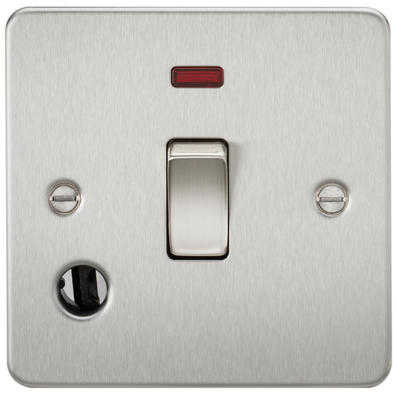Knightsbridge Flat Plate 20A 1G DP switch with neon & flex outlet - brushed chrome