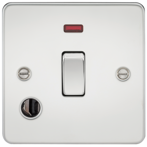 Knightsbridge Flat Plate 20A 1G DP switch with neon & flex outlet - polished chrome