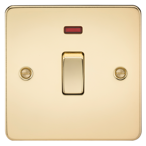 Knightsbridge Flat Plate 20A 1G DP switch with neon - polished brass