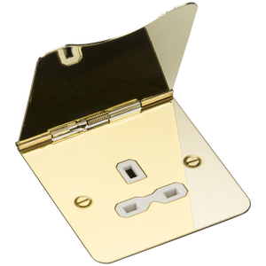 Knightsbridge 13A 1G unswitched floor socket - polished brass with white insert