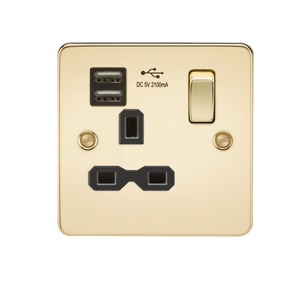 Knightsbridge Flat plate 13A 1G switched socket with dual USB charger (2.1A) - polished brass with black insert
