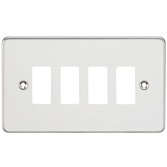 Knightsbridge Flat plate 4G grid faceplate - polished chrome
