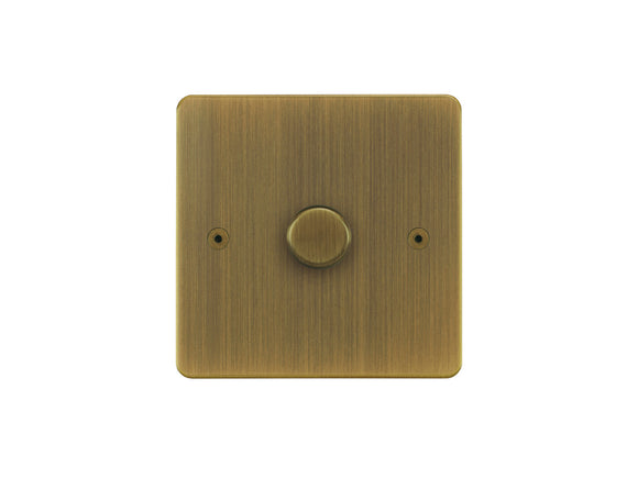 Focus SB Horizon 1 Gang 2 Way Push On/Off Dimmer Switch Antique Brass