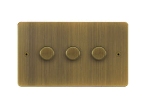 Focus SB Horizon 3 Gang 2 Way Push On/Off Dimmer Switch Antique Brass