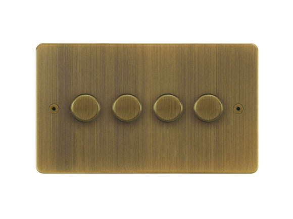 Focus SB Horizon 4 Gang 2 Way Push On/Off Dimmer Switch Antique Brass