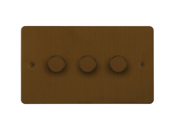 Focus SB Horizon 3 Gang 2 Way Push On/Off Dimmer Switch Bronze Antique