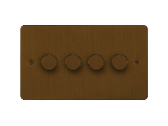 Focus SB Horizon 4 Gang 2 Way Push On/Off Dimmer Switch Bronze Antique