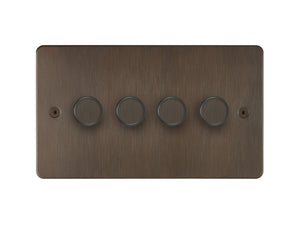 Focus SB Horizon 4 Gang 2 Way Push On/Off Dimmer Switch Chocolate Bronze
