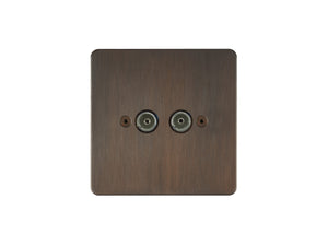 Focus SB Horizon TV Co-Axial 2 Gang Socket Chocolate Bronze
