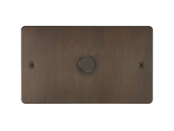 Focus SB Horizon 1 Gang 2 Way Push On/Off Dimmer Switch Chocolate Bronze Twin Plate