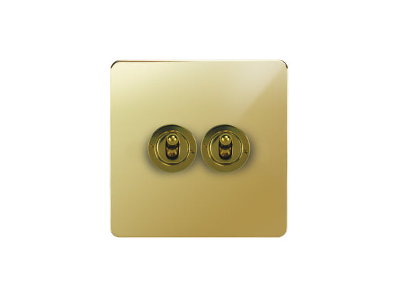 Focus SB Horizon Dolly Grid 2 Gang 2 Way Switch Polished Brass