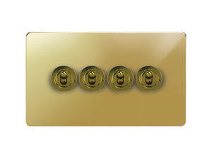 Focus SB Horizon Dolly Grid 4 Gang 2 Way Switch Polished Brass