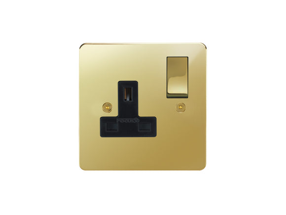Focus SB Horizon Switched 1 Gang Brass Socket Polished Brass Black Insert