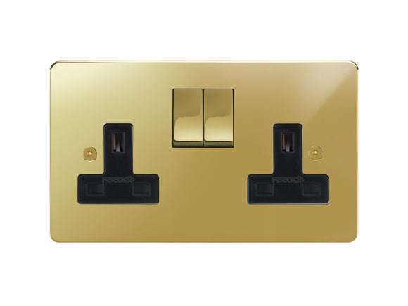 Focus SB Horizon Switched 2 Gang Brass Socket Polished Brass Black Insert