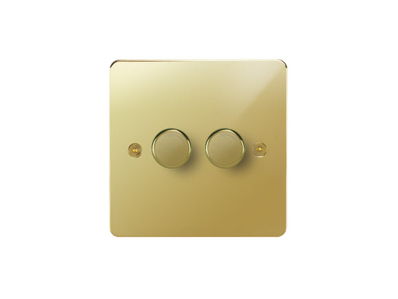 Focus SB Horizon 2 Gang 2 Way Push On/Off Dimmer Switch Polished Brass