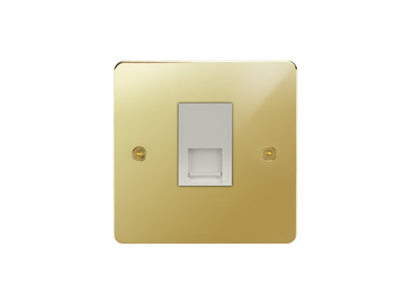 Focus SB Horizon Telephone Slave 1 Gang Socket Polished Brass White Insert