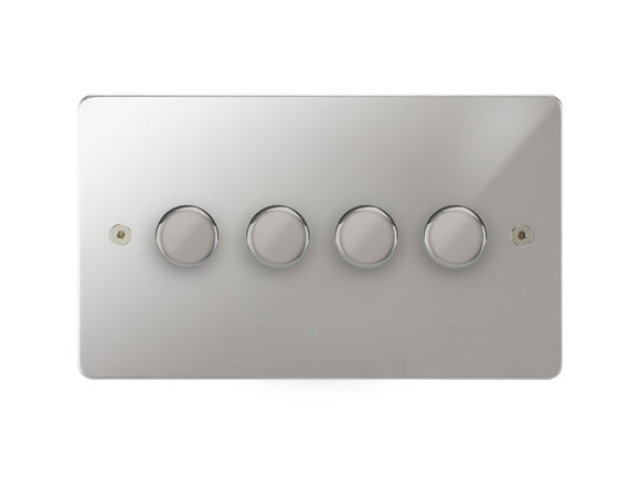 Focus SB Horizon 4 Gang 2 Way Push On/Off Dimmer Switch Polished Chrome