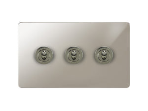 Focus SB Horizon Dolly Grid 3 Gang 2 Way Switch Polished Nickel
