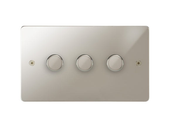 Focus SB Horizon 3 Gang 2 Way Push On/Off Dimmer Switch Polished Nickel