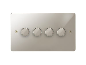 Focus SB Horizon 4 Gang 2 Way Push On/Off Dimmer Switch Polished Nickel