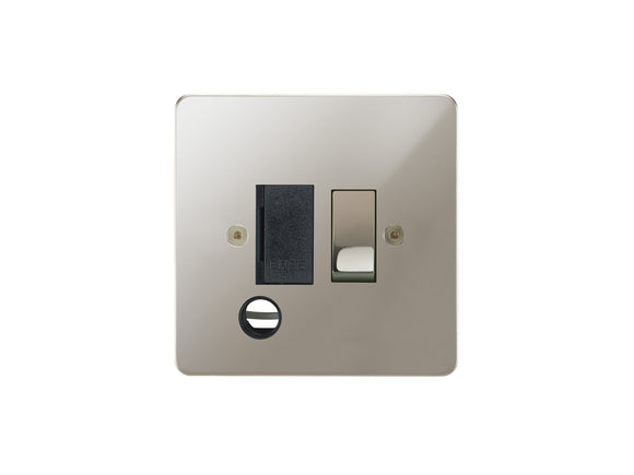 Focus SB Horizon Switched 1 Gang c/w Cord Connection Unit Polished Nickel Black Insert