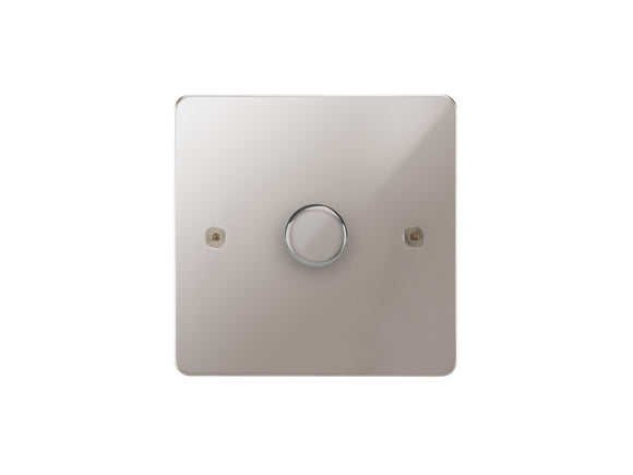 Focus SB Horizon 1 Gang 2 Way Push On/Off Dimmer Switch Polished Steel Single