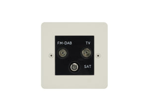 Focus SB Horizon TV/FM/Satellite Triplex Socket Primed White Black Insert