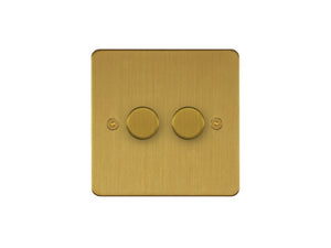 Focus SB Horizon 2 Gang 2 Way Push On/Off Dimmer Switch Satin Brass
