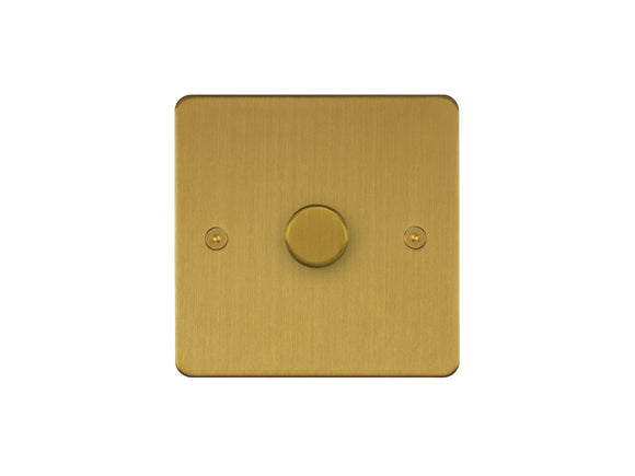 Focus SB Horizon 1 Gang 2 Way Push On/Off Dimmer Switch Satin Brass Single