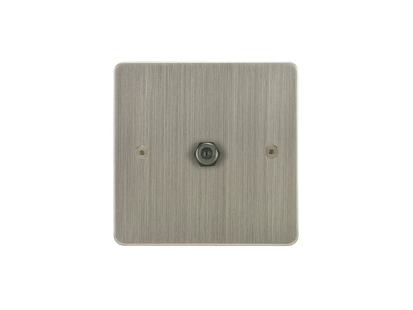 Focus SB Horizon TV Satellite FM 1 Gang Socket Satin Nickel