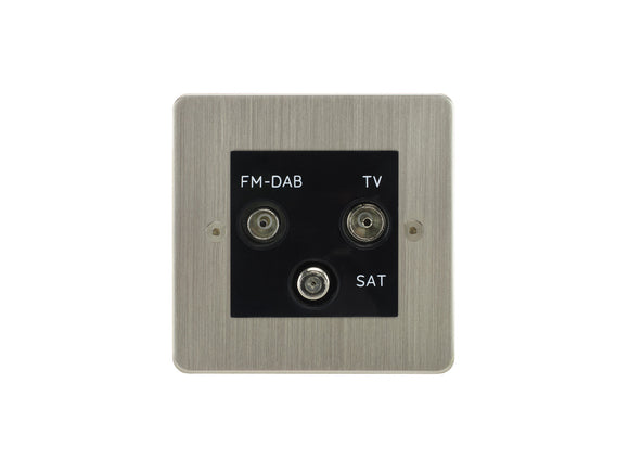 Focus SB Horizon TV/FM/Satellite Triplex Socket Satin Nickel Black Insert