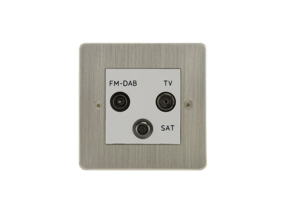 Focus SB Horizon TV/FM/Satellite Triplex Socket Satin Nickel White Insert