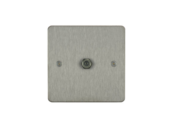 Focus SB Horizon TV Satellite FM 1 Gang Socket Satin Steel