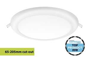 Integral LED Multi-Fit Downlight 18W 3000K 1440lm, Adjustable 65-205mm cut-out, Non-dimmable