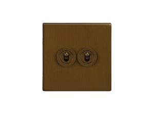 Focus SB Morpheus Dolly Grid 2 Gang 2 Way Switch Bronze Antique