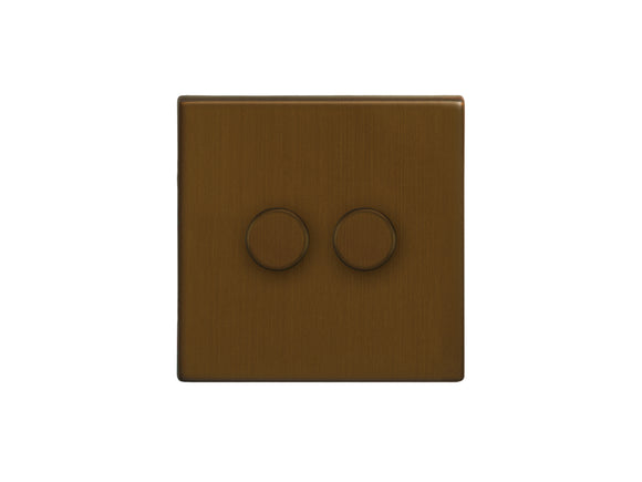 Focus SB Morpheus 2 Gang 2 Way Push On/Off Dimmer Switch Bronze Antique
